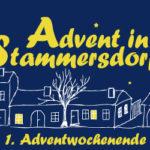 Blaue Werbung mit gelber Schrift zur Ankündigung des Advents in Stammersdorf