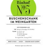 Grünes Logo vom Biohof Nummer5, darunter eine Liste der Buschenschanktermine