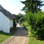 Gepflasterter Weg bergab in einem Innenhof zwischen Haus und grünem Busch.